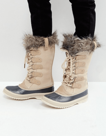 Sorel Joan Of Arctic Waterproof Beige Suede Leather Boots